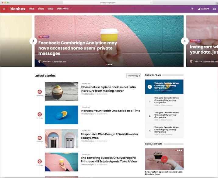 Ideabox - mẫu website tin tức ý tưởng
