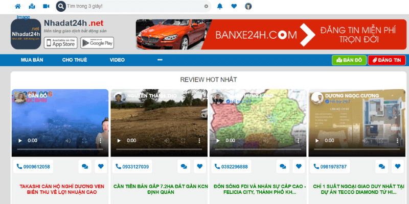 trang web đăng tin bất động sản nhadat24h